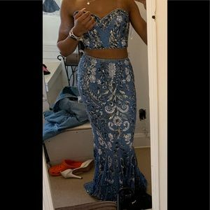 Blue Bedazzled Prom Dress Worn once for 2019 prom